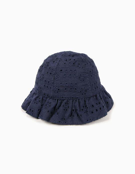Sombrero para Bebé Niña con Bordado Inglés, Azul Oscuro