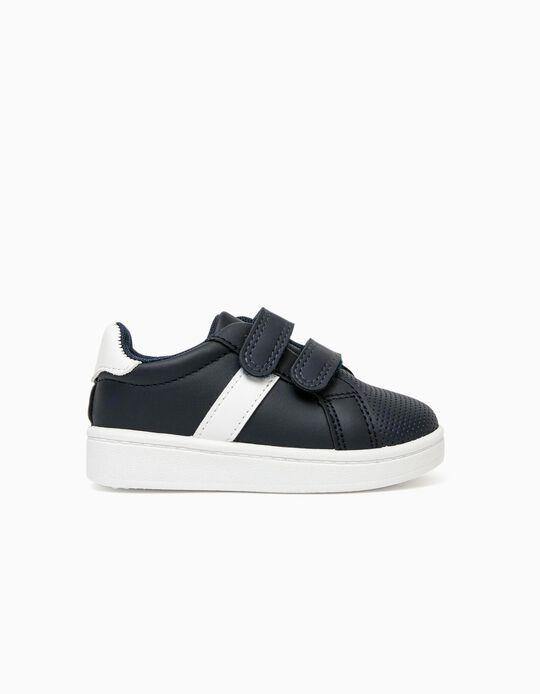 Zapatillas para Bebé Niño, Azul Oscuro/Blanco