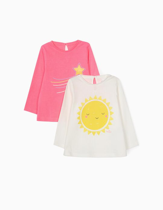 2 Long Sleeve Tops for Baby Girls 'Sun', Pink/White