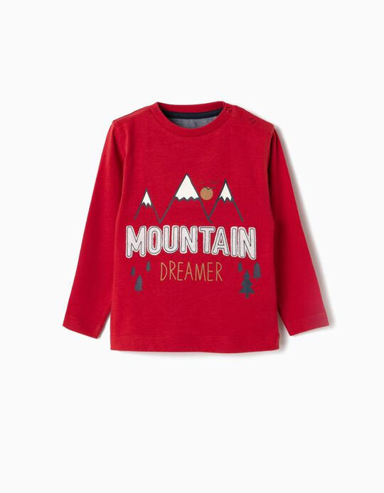 Long-sleeve Top for Baby Boys 'Mountain Dreamer', Red