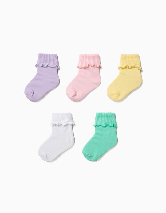 Pack 5 Calcetines Lisos para Bebé Niña con Vuelta, Varios Colores