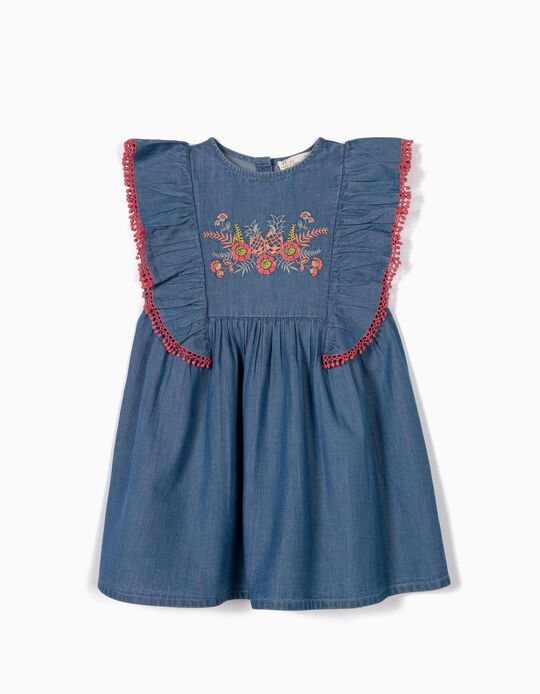 Denim Dress for Girls with Embroideries, Azul