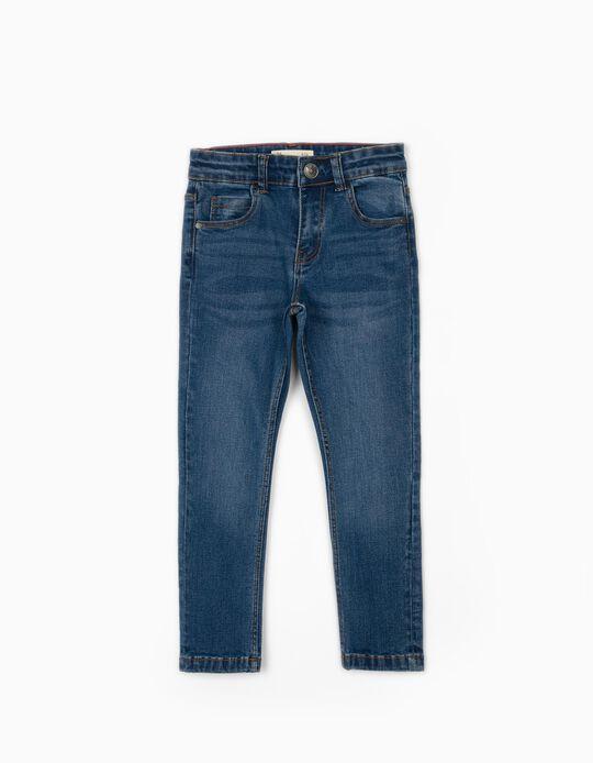 Calças de Ganga Regular Fit para Menino, Azul