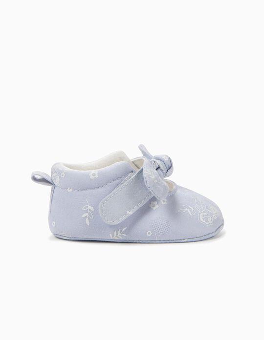 Zapatos para Recién Nacida con Flores y Lacito, Azul