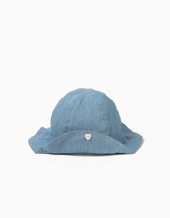 Chapéu de Ganga para Bebé Menina com Botão, Azul Claro