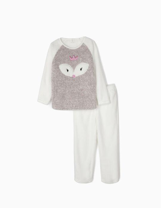 Pijama Coralina para Menina 'Queen', Cinza e Branco