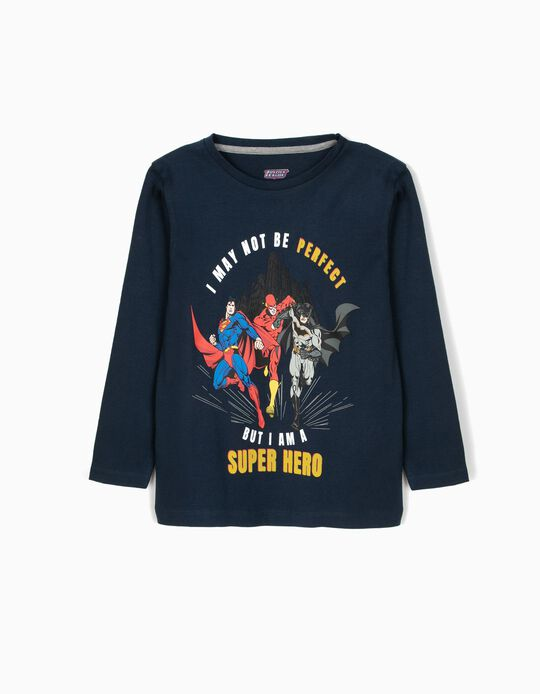 T-shirt Manga Comprida Justice League Azul Escura