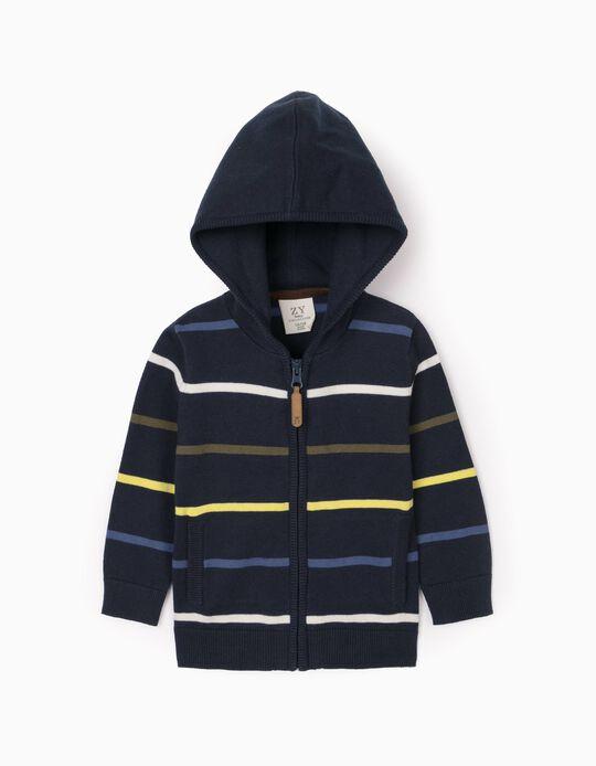 Hooded Cardigan for Baby Boys, Dark Blue