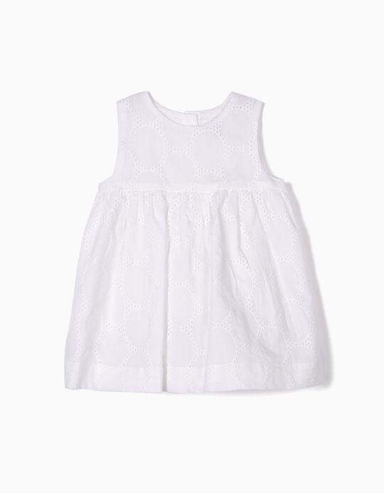 Vestido para Recién Nacida con Cubrepañal, Blanco