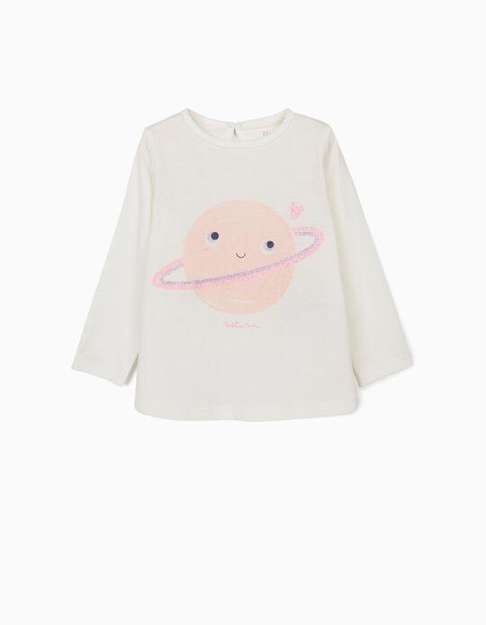 Camiseta de Manga Larga para Bebé Niña 'Saturn', Blanca
