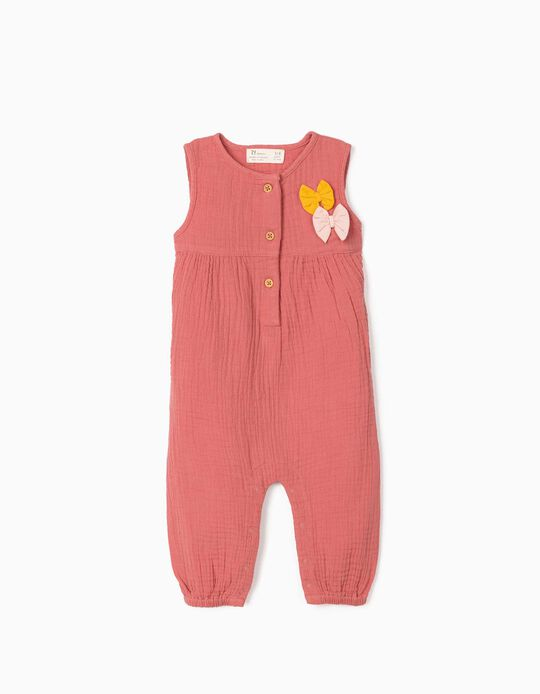 Textured Jumpsuit for Newborn Baby Girls, Pink