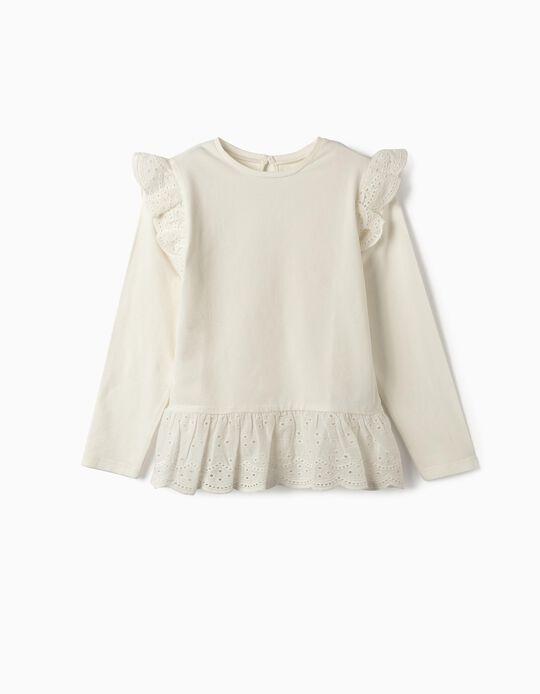 T-shirt de Manga Comprida para Menina com Folhos, Branco