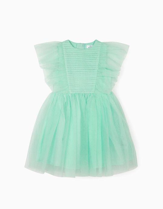 Vestido Tule para Menina, Verde Água