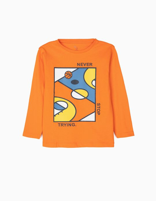 T-shirt Manga Comprida para Menino 'Basketball', Laranja