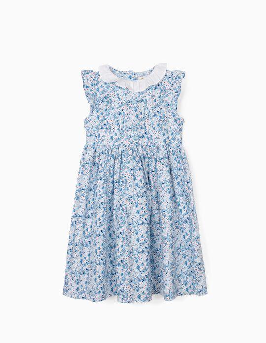 Robe à fleurs fille, bleu