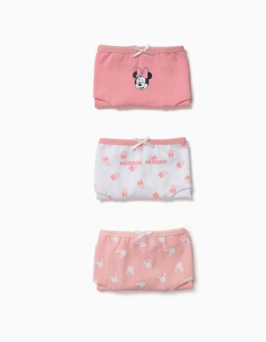 Pack 3 Braguitas para Niña 'Minnie', Rosa y Blanco