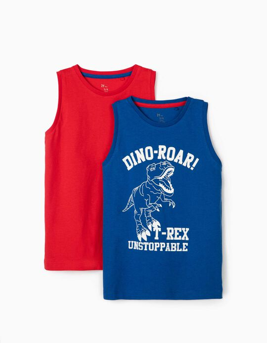 2 Sleeveless T-Shirts for Boys, 'Dino-Roar!', Blue/Red