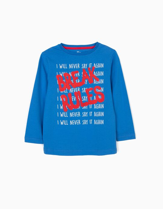 Camiseta de Manga Larga para Niño 'Break Rules', Azul