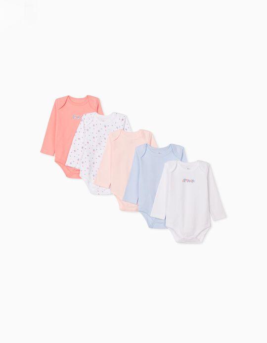5 bodies bébé fille 'Flowers & Stripes', rose/blanc/bleu