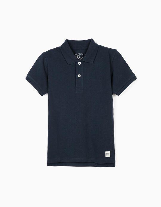 Short Sleeve Polo Shirt for Boys, Dark Blue