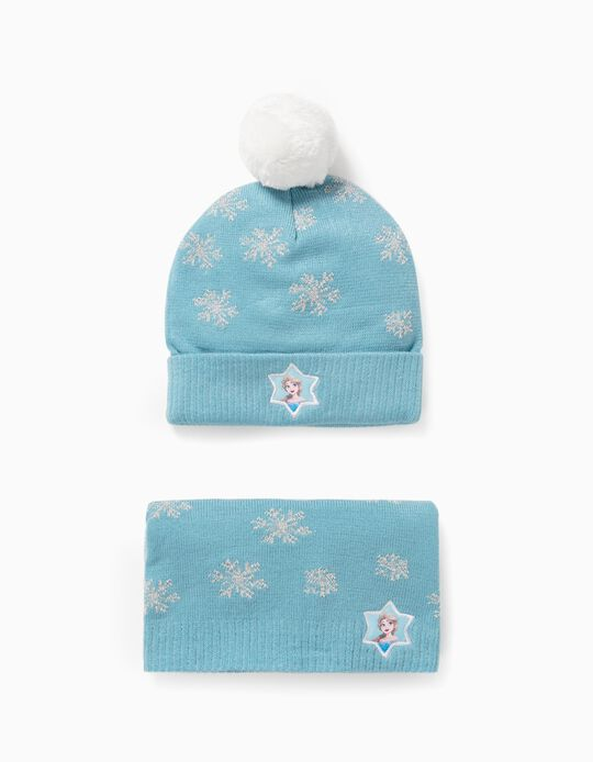 Beanie + Snood for Girls 'Frozen', Blue