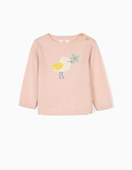 Jumper for Newborn Baby Girls, 'Cute Bird', Pink