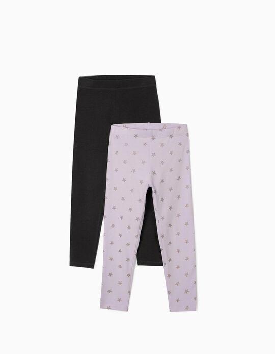 2 Pairs of Leggings for Girls 'Stars', Lilac/Dark Grey
