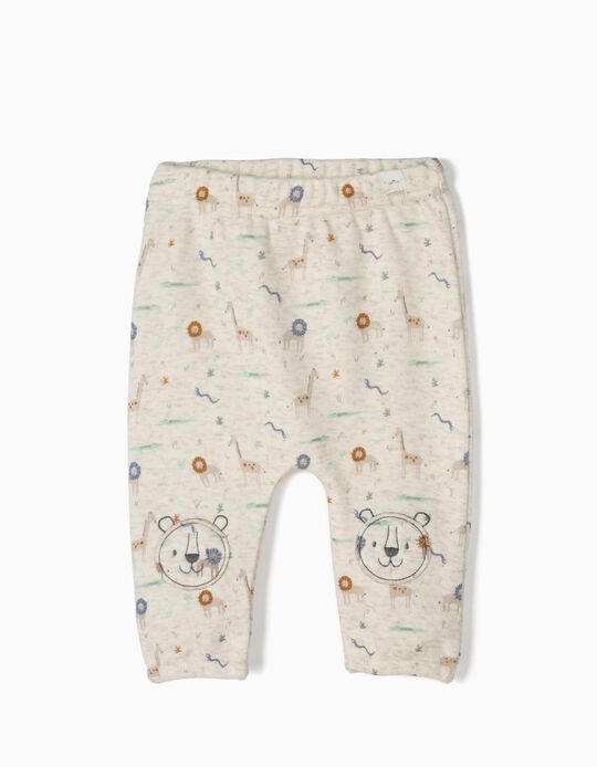 Pantalón Animals para Recién Nacido, Beige Jaspeado