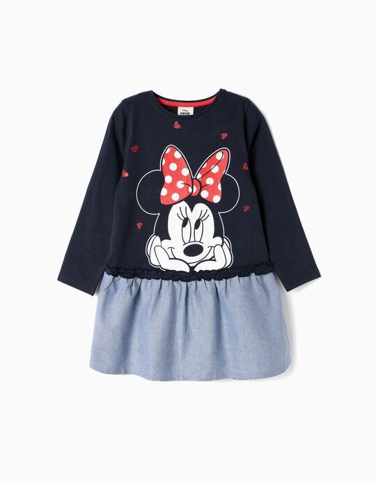 Vestido de Dos Materias para Niña 'Minnie', Azul