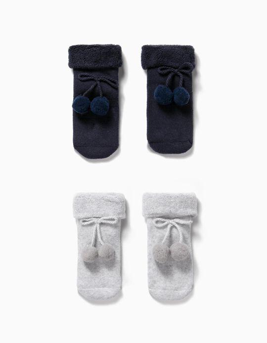 2 Pares de Meias com Pompons para Bebé Menina, Azul Escuro/Cinza