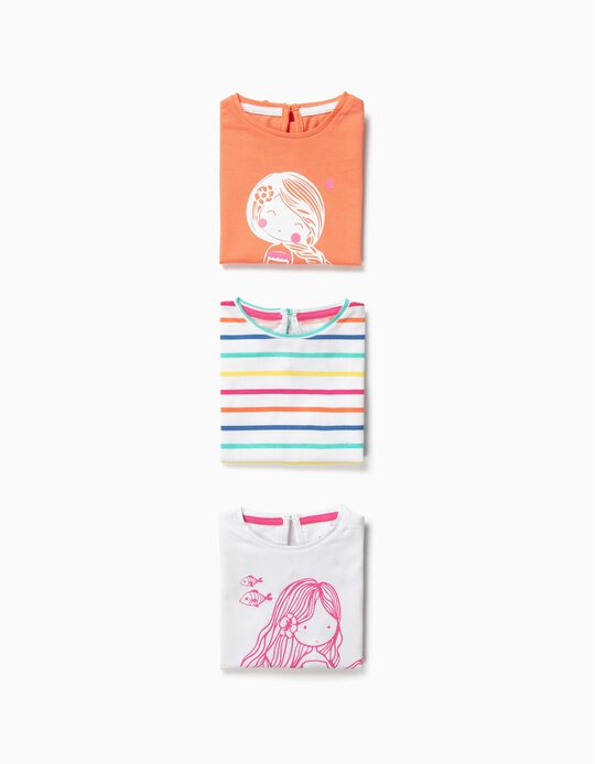 3-Pack T-shirts for Baby Girls 'Mermaid', Multicolour
