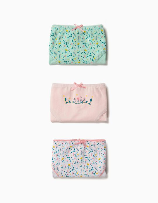 3 Cuecas para Menina 'Flowers', Multicolor