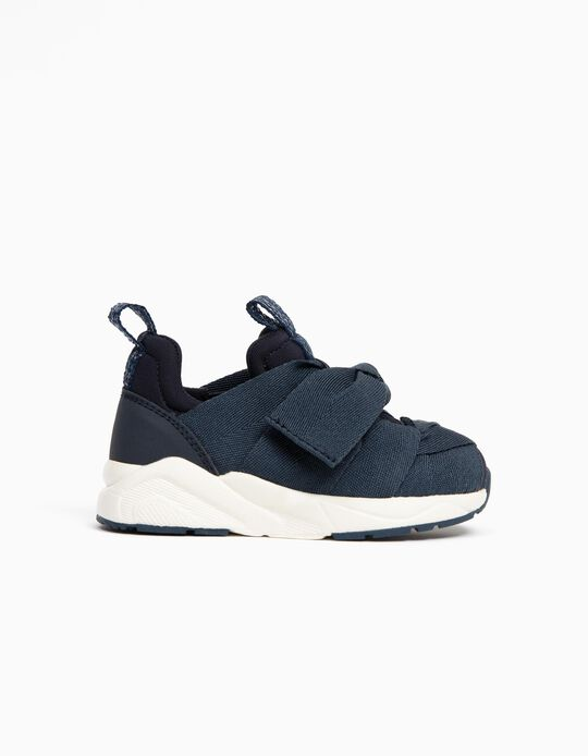 Sneakers with Ribbons and Glitter for Baby Girls, Dark Blue