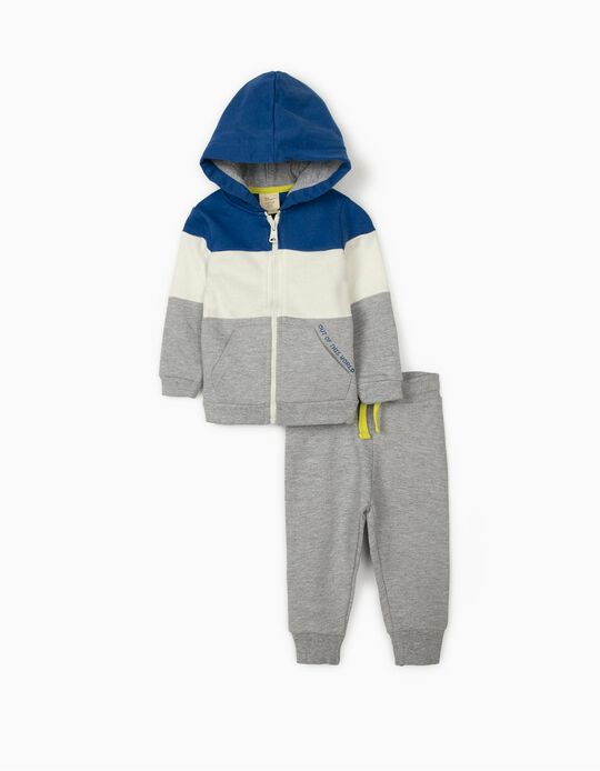 Tracksuit for Baby Boys, Grey/Blue/White