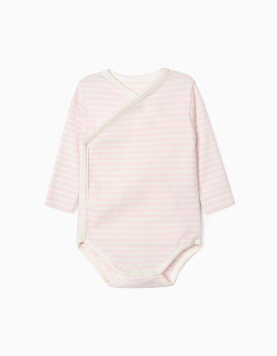 Long Sleeve Bodysuit for Newborn Baby Girls, 'WH', Pink/White