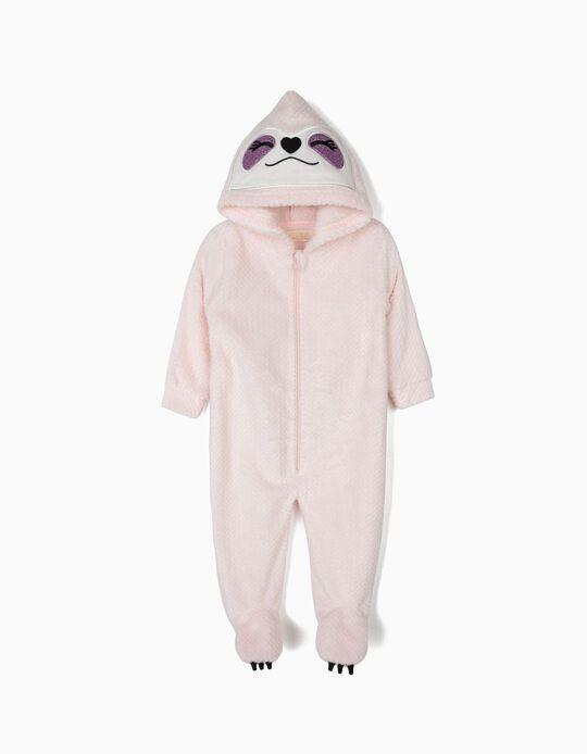 Babygrow Polar com Capuz para Bebé Menina 'Queen Sloth', Rosa