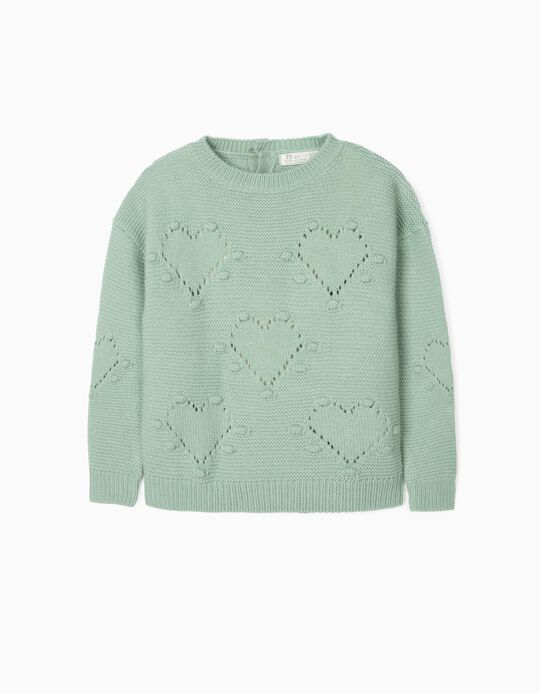 Jumper for Girls, 'Hearts', Green