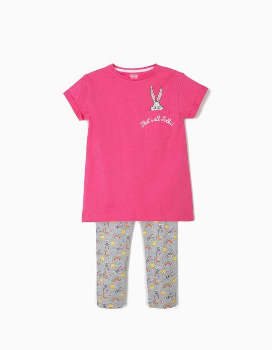 T-shirt e Leggings para Menina 'Bugs Bunny', Rosa e Cinza