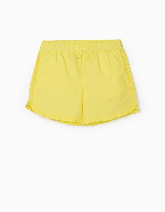Ruffled Shorts for Girls, Yellow