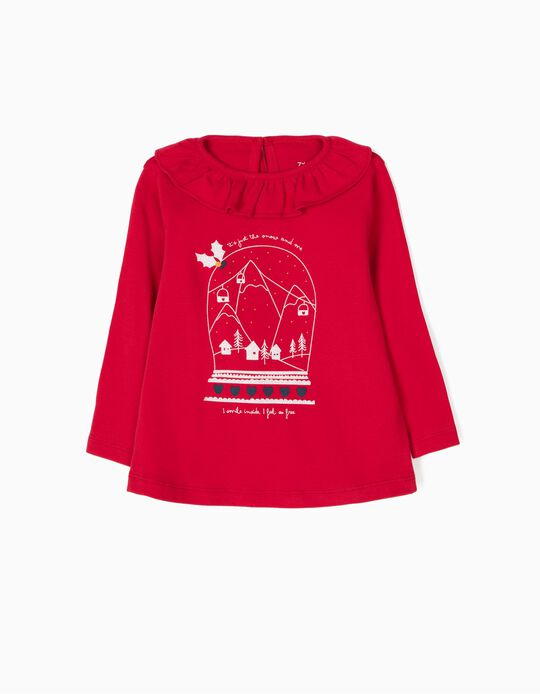 Camiseta de Manga Larga Christmas Snow Roja