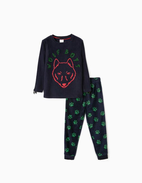 Pijama Polar para Menino 'Wolf Boys',  Azul Escuro