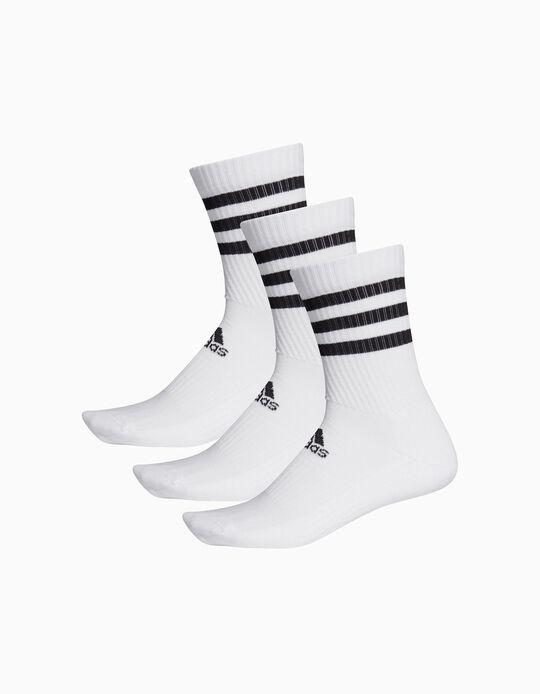 3 Pares de Meias de Cano Médio para Criança 'Adidas', Branco