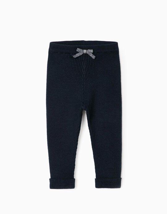 Calças de Malha Canelada para Bebé Menina, Azul Escuro