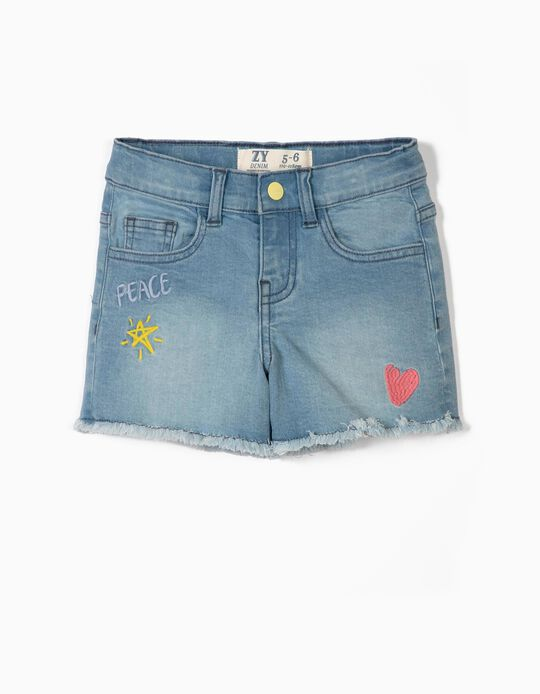 Denim Shorts for Girls 'Peace', Blue
