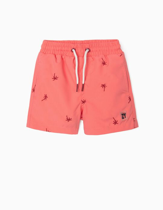 Embroidered Swim Shorts for Baby Boys, Coral