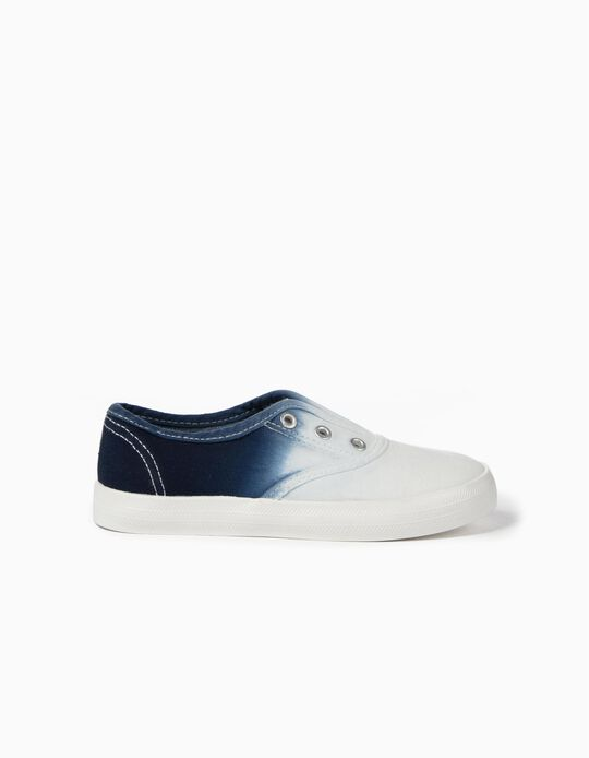 Baskets Slip-on Enfant 'Dégradé', Blanc et Bleu.