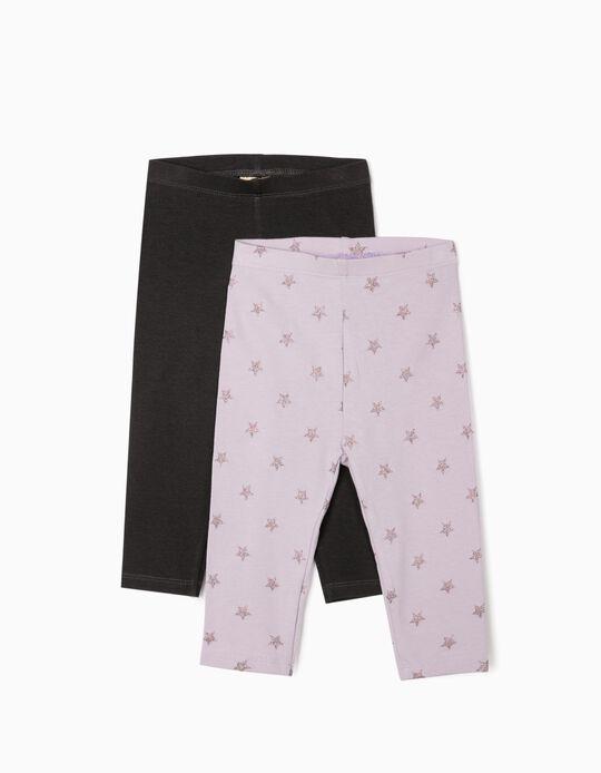 2 Pairs of Leggings for Baby Girls 'Stars', Lilac/Dark Grey