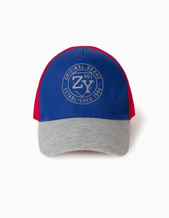 Cap for Boys, 'ZY 96', Blue/Red/Grey