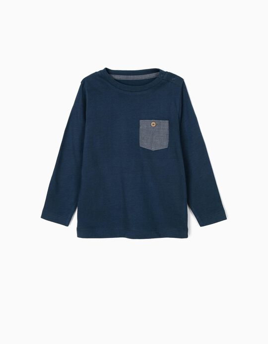 T-shirt Manga Comprida para Bebé Menino com Bolso, Azul