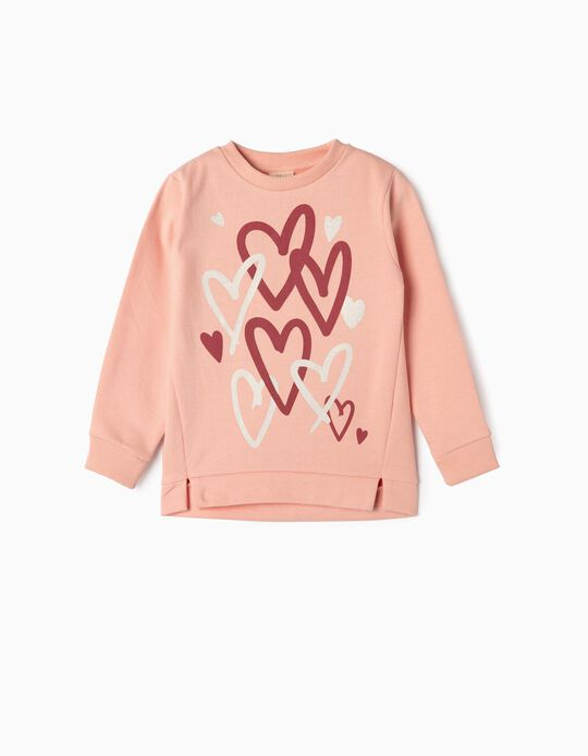 Sweatshirt para Menina 'Hearts', Rosa